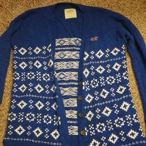 Hollister fair isle cardigan size L blue and white